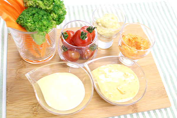 Home made mayonnaise and various kinds of dip